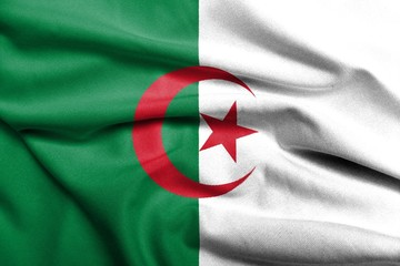 Foto op Canvas Algerije 3D Flag of Algeria satin