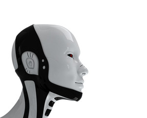 Candid white-black head of robot in profile
