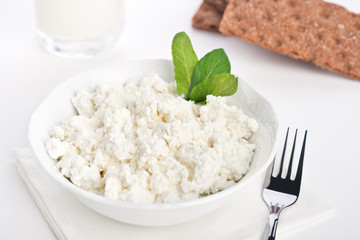 Dieting cottage cheese breakfast