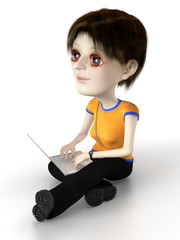 Techie girl are sitting on the floor with laptop. 3D.