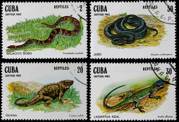 post stamps shows reptiles