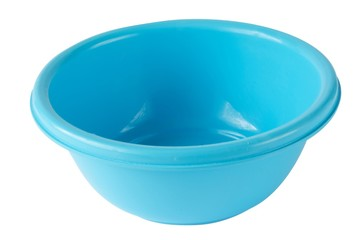 blue color Plastic bowl isolated with clipping path