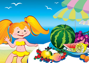 Holiday at the sea. Beautiful girl with plate of fruits.