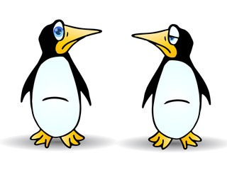 two Cute cartoon penguin
