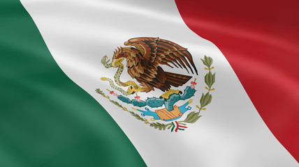 Mexican flag in the wind