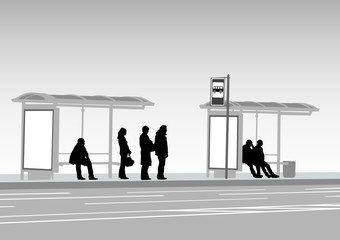 Wall Mural - Bus stop people