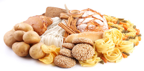 With bakery products on a white background