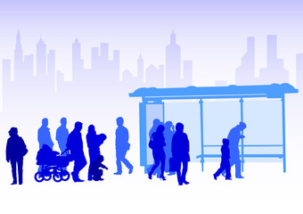 Wall Mural - Transport stop people