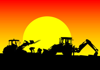 Wall Mural - Tractor work on sunset