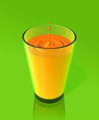 drop of orange juice and ripple in a glass