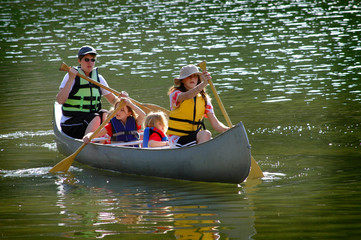 Family Canoeing at Lake