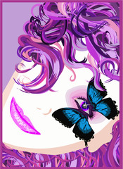 Portrait of a girl with a butterfly. Vector illustration.