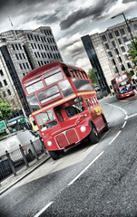 Printed roller blinds London red bus bus anglais