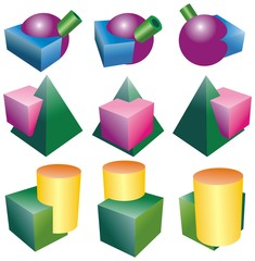 intersections of objects of ball tube cube pyramid and cylinder
