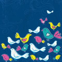 hand draw birds on grunge blue background, vector
