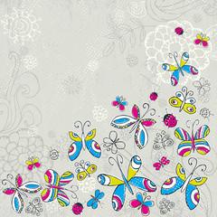 hand draw butterflies on grunge  grey background, vector