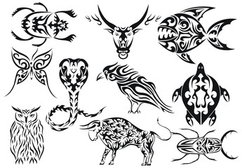 Set of vector tribal animal tattoos