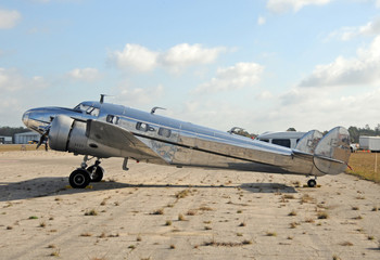 Old silver airplane