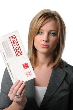 Woman Holding Past Due Envelope