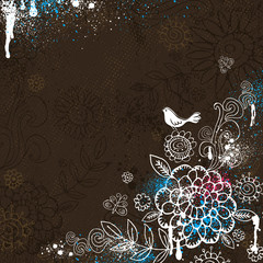 hand draw  flowers on brown background