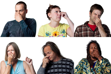 Collage of people reacting to bad smells