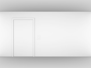 A render of an empty white room with a door and a light switch