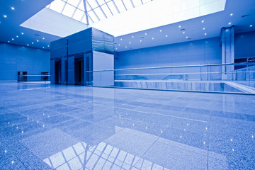 Empty office centre in blue