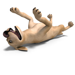 very funny cartoon dog is a little bit nuts. 3D rendering with c