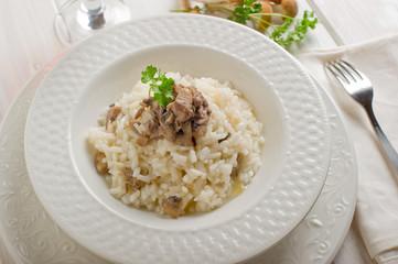 mushroom rice over dish