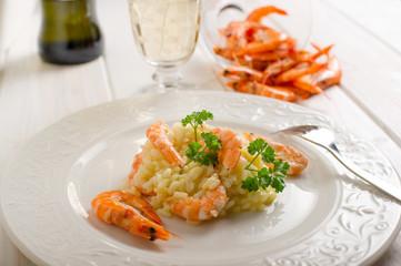 rice with shrimp - risotto con gamberi