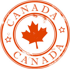 Grunge rubber stamp with the leaf, Canada