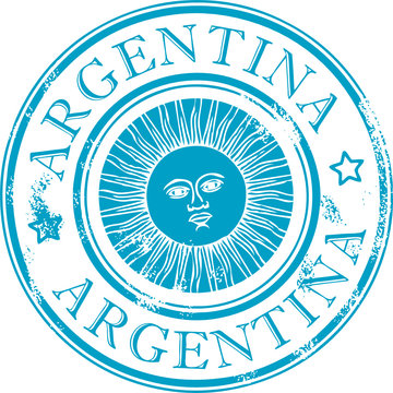Grunge rubber stamp with the sun symbol, Argentina