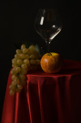 Still-life with fruit and wine glass