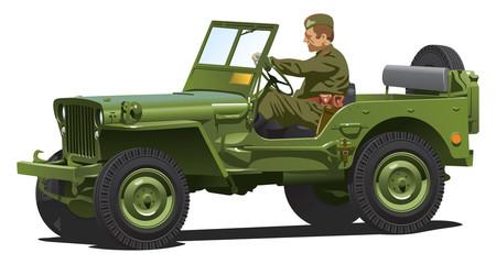 Keuken foto achterwand Militair World war two army jeep.