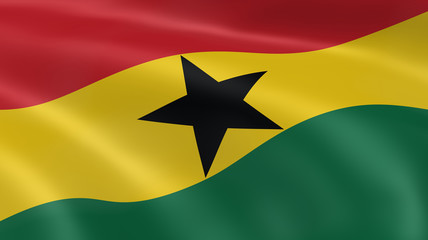Ghanaian flag in the wind
