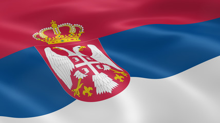 Serbian flag in the wind