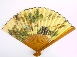 traditional Chinese fan. Close up on white background