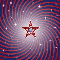 Patriotic Spiral Burst Background