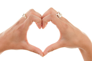 Hands in the shape of heart over white background