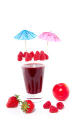 a nice decorated fresh made fruit cocktail isolated over white