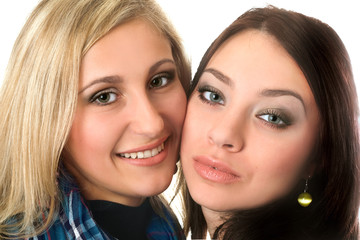 Closeup portrait of beautiful smiling young women