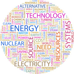 Word cloud concept illustration of energy association terms.
