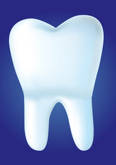 Tooth on blue background, vector illustration