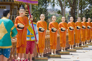The image of monks in a Buddhist Temple in Sihanoukville