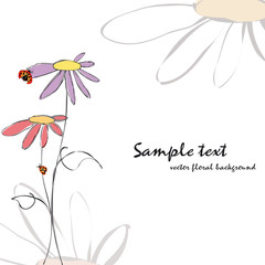 Spring summer floral with ladybirds card