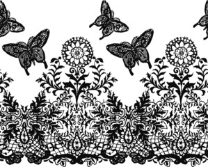 butterfly with flower border lrepeated ace design