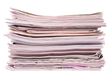 Stack of magazines isolated on white background