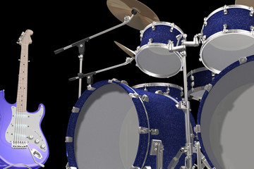 drum kit guitar and trumpet isolated on a black background