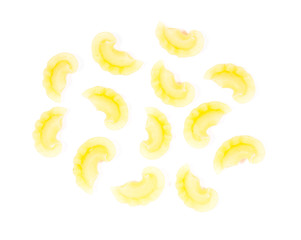 Yellow colorful macaroni isolated on white background.