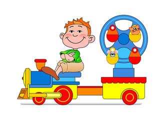 Little boy on blue locomotive